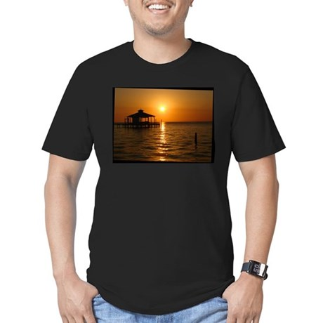 Boathouse at Sunset Men's Fitted T-Shirt (dark)