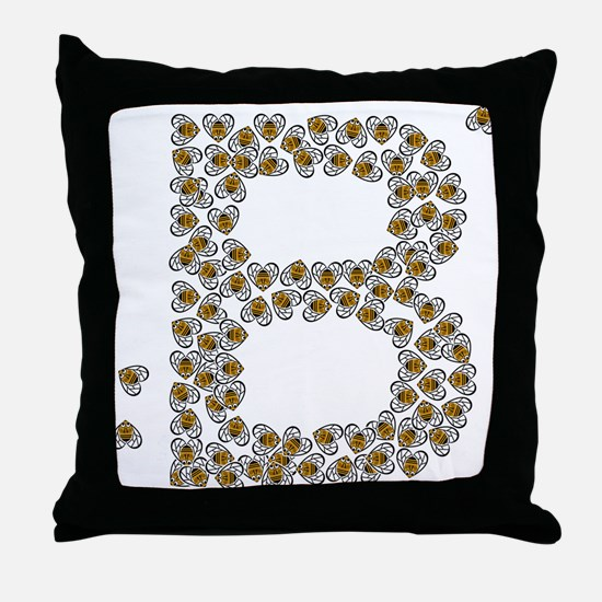 """""""B"""" (made of bees) Throw Pillow"""