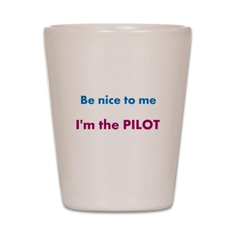 Be Nice to Me, I'm the Pilot Shot Glass