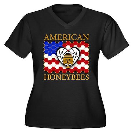 American Honeybees Women's Plus Size V-Neck Dark T