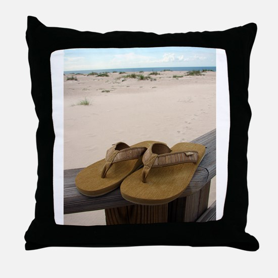 Flip Flops on Vacation Throw Pillow