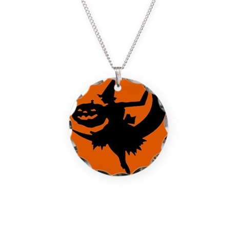 Moon Witch Necklace Circle Charm