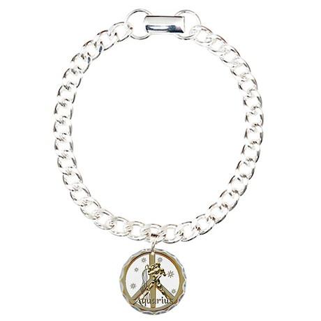 Aquarius Zodiac Peace Charm Bracelet, One Charm