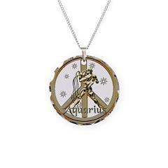 Aquarius Zodiac Peace Necklace Circle Charm