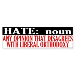 Hate Is Disagreeing With A Liberal Bumper Bumper Sticker