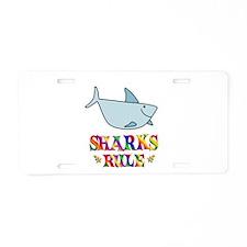 Fun Sharks Rule Aluminum License Plate