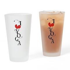 I heart YOGA Drinking Glass
