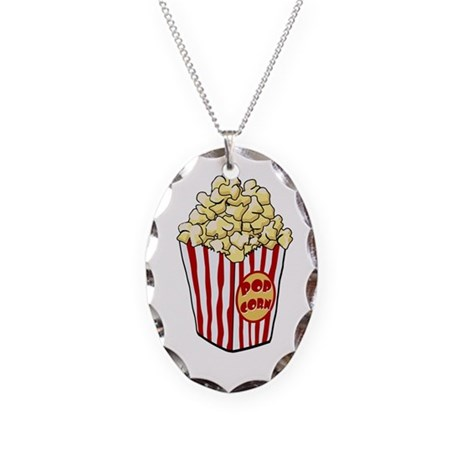 Cartoon Popcorn Bag Necklace Oval Charm