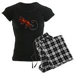 Fire Red Gecko Women's Dark Pajamas