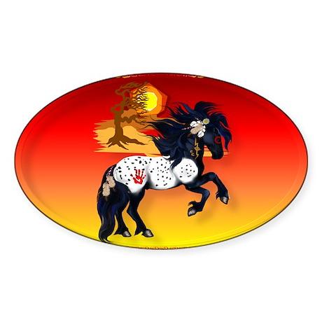 Appaloosa War Pony - backgrou Sticker (Oval 10 pk)