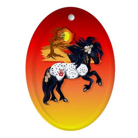 Appaloosa War Pony - backgrou Ornament (Oval)