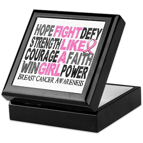 Licensed Fight Like a Girl Word Colla Keepsake Box
