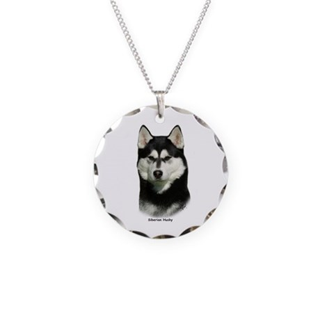 Siberian Husky 9P046D-46 Necklace Circle Charm