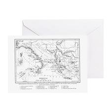 Wanderings of Aeneas Map Greeting Card