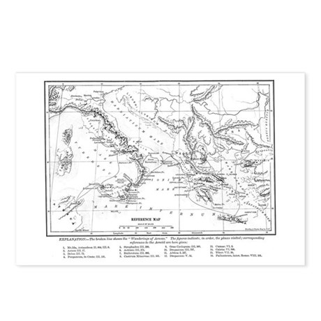 Wanderings of Aeneas Map Postcards (Package of 8)