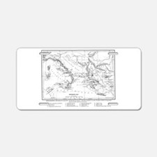 Wanderings of Aeneas Map Aluminum License Plate