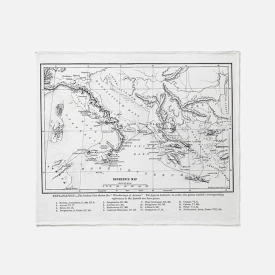 Wanderings of Aeneas Map Throw Blanket