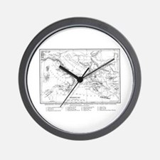 Wanderings of Aeneas Map Wall Clock