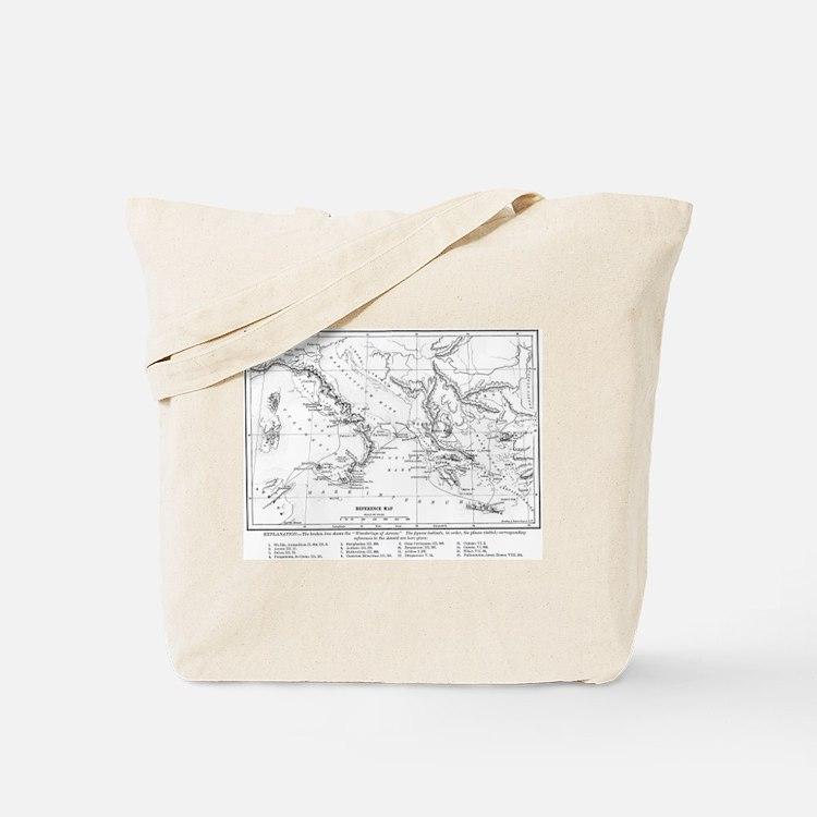 Wanderings of Aeneas Map Tote Bag