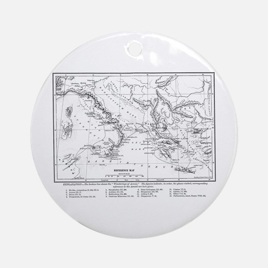 Wanderings of Aeneas Map Ornament (Round)