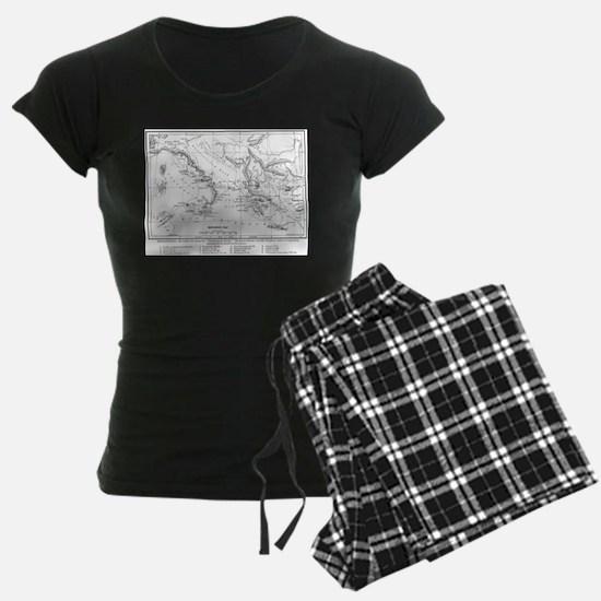 Wanderings of Aeneas Map Pajamas