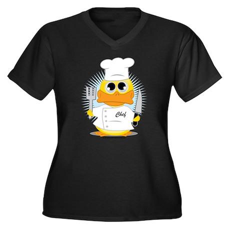 Chef Duck Women's Plus Size V-Neck Dark T-Shirt