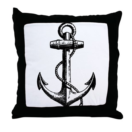 Vintage Anchor Throw Pillow