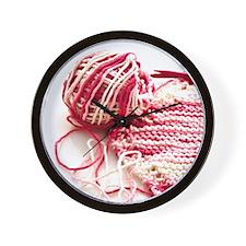Hand Knit Pink Variegated Wall Clock