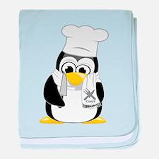 Chef Penguin Scarf baby blanket