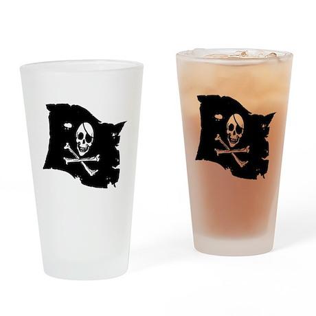 Pirate Flag Tattoo Drinking Glass
