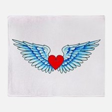 Winged Heart Tattoo Throw Blanket