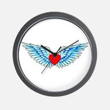 Winged Heart Tattoo Wall Clock