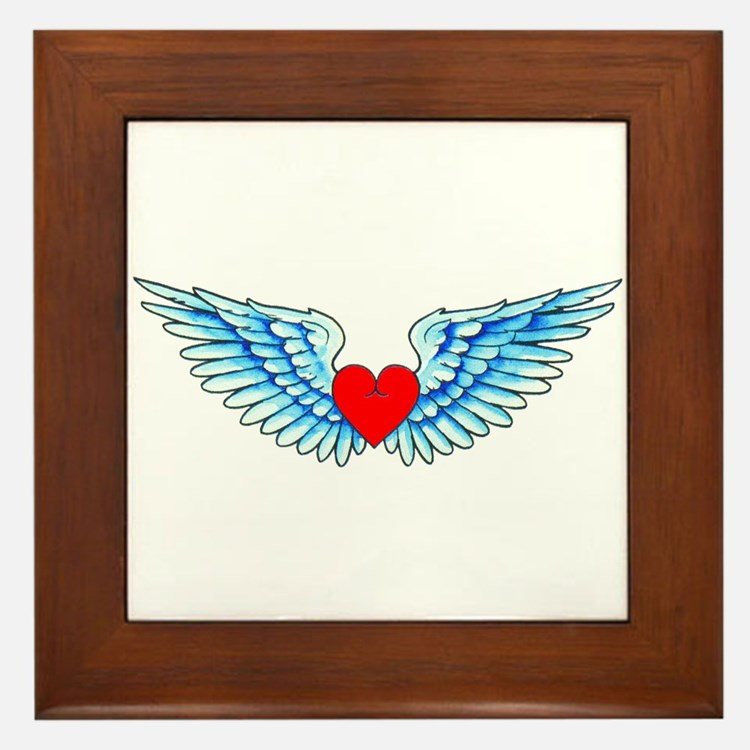 Winged Heart Tattoo Framed Tile