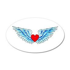 Winged Heart Tattoo 22x14 Oval Wall Peel