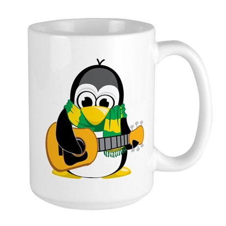 Acoustic Guitar Penguin Scarf Large Mug