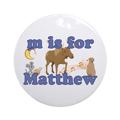 M is for Matthew Ornament (Round)