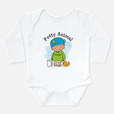 Potty Animal Boy Long Sleeve Infant Bodysuit