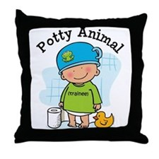 Potty Animal Boy Throw Pillow