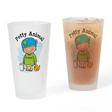 Potty Animal Boy Drinking Glass