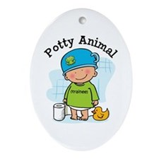 Potty Animal Boy Ornament (Oval)