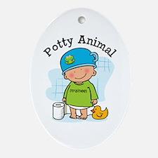 Potty Animal Boy Ornament (Oval)