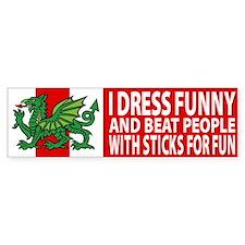 """Midrealm Vinyl """"I dress funny"""" Bumper Bumper Sticker"""