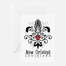 New Orleans Fleur Heart Greeting Card