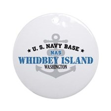 US Navy Whidbey Island Base Ornament (Round)