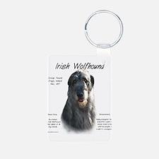 Grey Irish Wolfhound Aluminum Photo Keychain