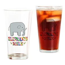 Fun Elephants Rule Drinking Glass