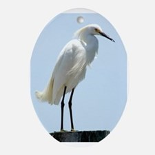 Great White Egret Ornament (Oval)