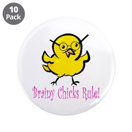 """Brainy Chicks 3.5"""" Button (10 pack)"""