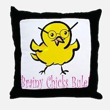 Brainy Chicks Throw Pillow