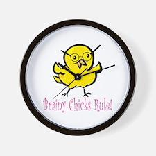 Brainy Chicks Wall Clock